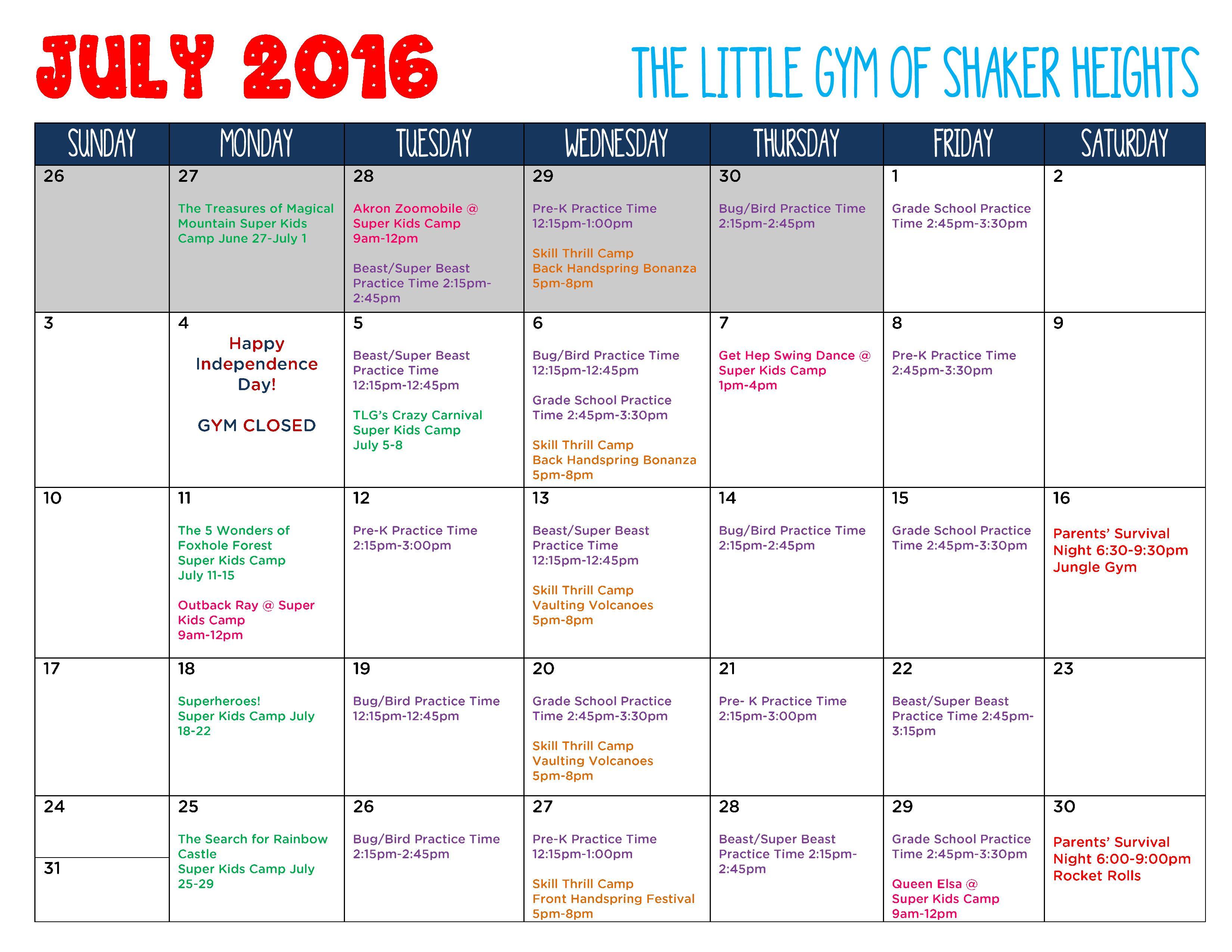 July 2016 Gym Calendar